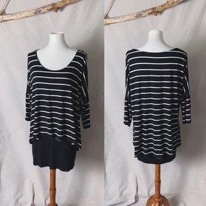 WHBM Striped Stretch Jersey Layered Tee Size M